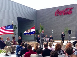 Gov. Jay Nixon spoke in Joplin on Wednesday at an event touting Coca-Cola's factory expansion. (PoliticMo Photo)